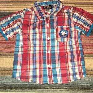 Infant Boy Plaid Button Down Baseball Shirt